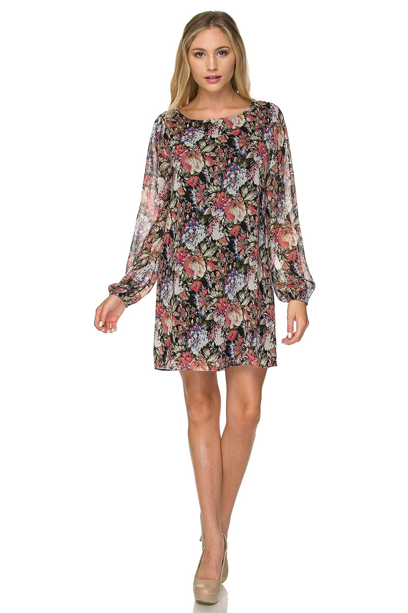FLOWER PRINT LONG SLEEVE DRESS - orangeshine.com