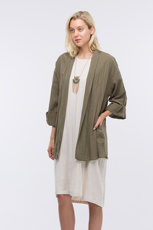 WIDE SLEEVE BAND OPEN CARDIGAN - orangeshine.com