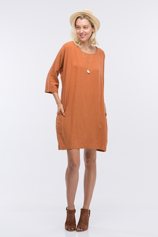 ROUND NECK LINEN DRESS - orangeshine.com