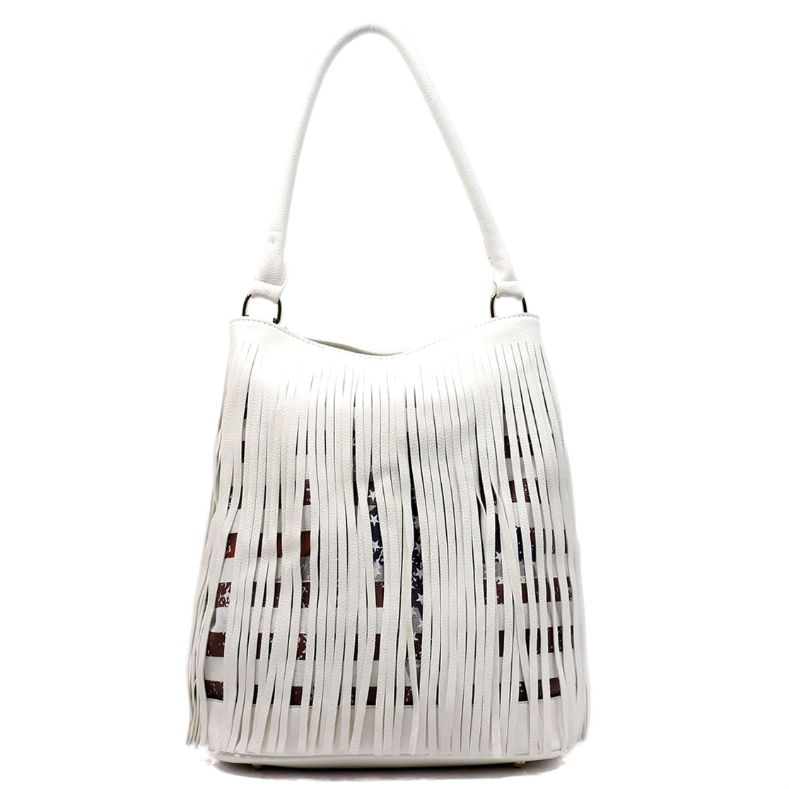 US Flag Fringe Bucket Satchel - orangeshine.com