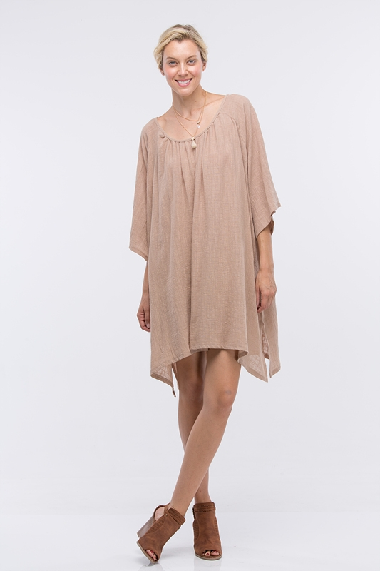 NECK SHIRRING FLARE DRESS - orangeshine.com