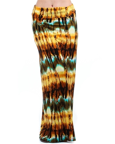 PRINTED FOLD OVER MAXI SKIRT - orangeshine.com