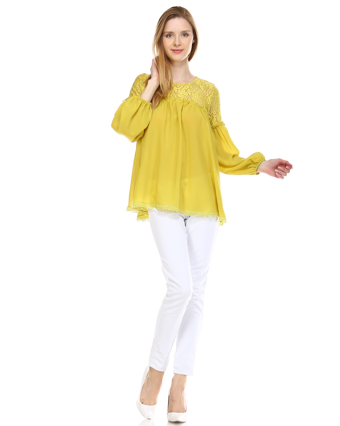LACE SHEER SOLID BLOUSE - orangeshine.com
