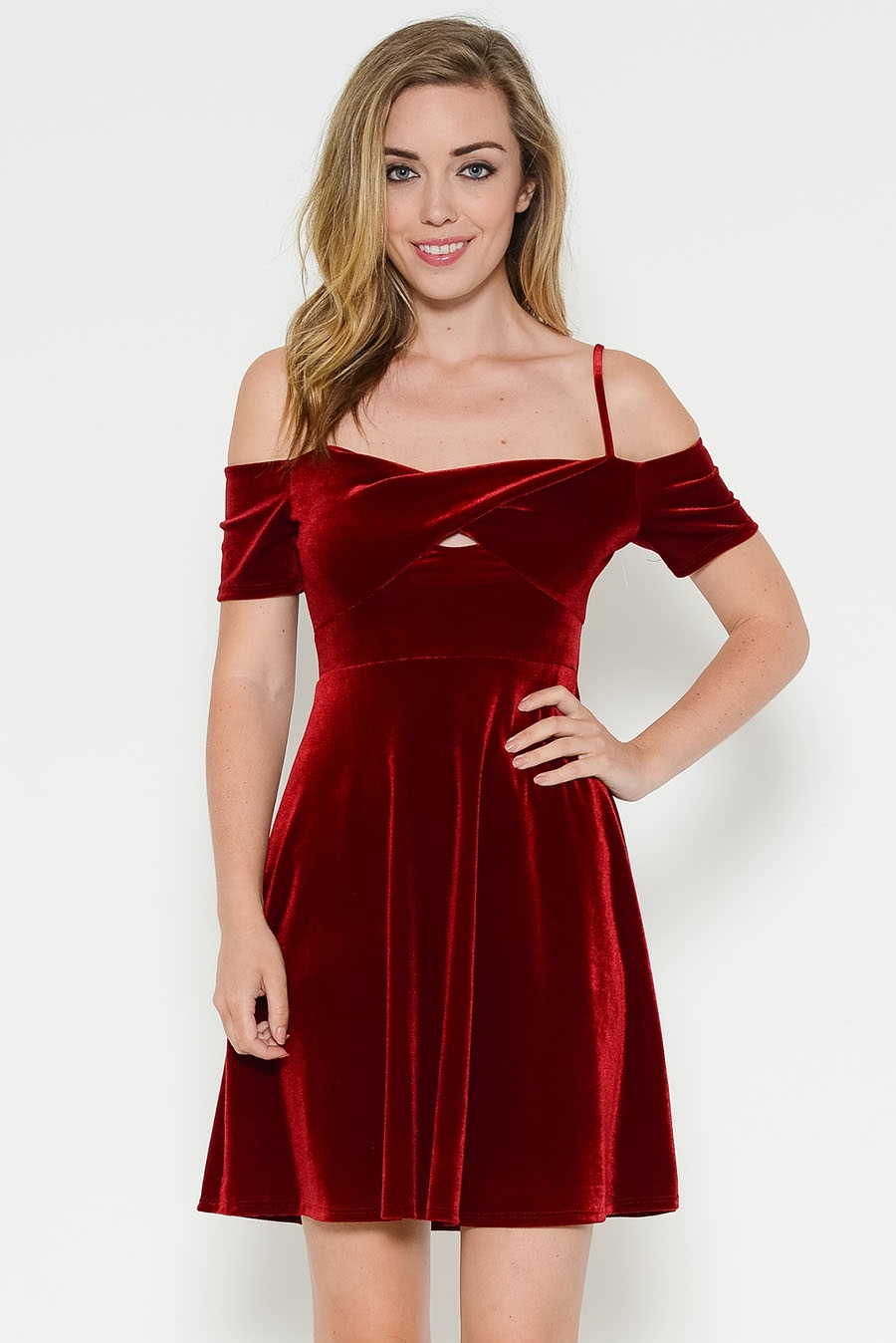 VELVET OFF SHOULDER FLARE DRES - orangeshine.com