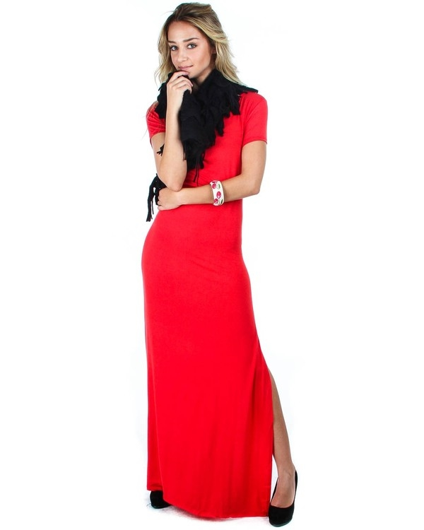 PLUS SIZE MAXI DRESS SIDE SLIT - orangeshine.com
