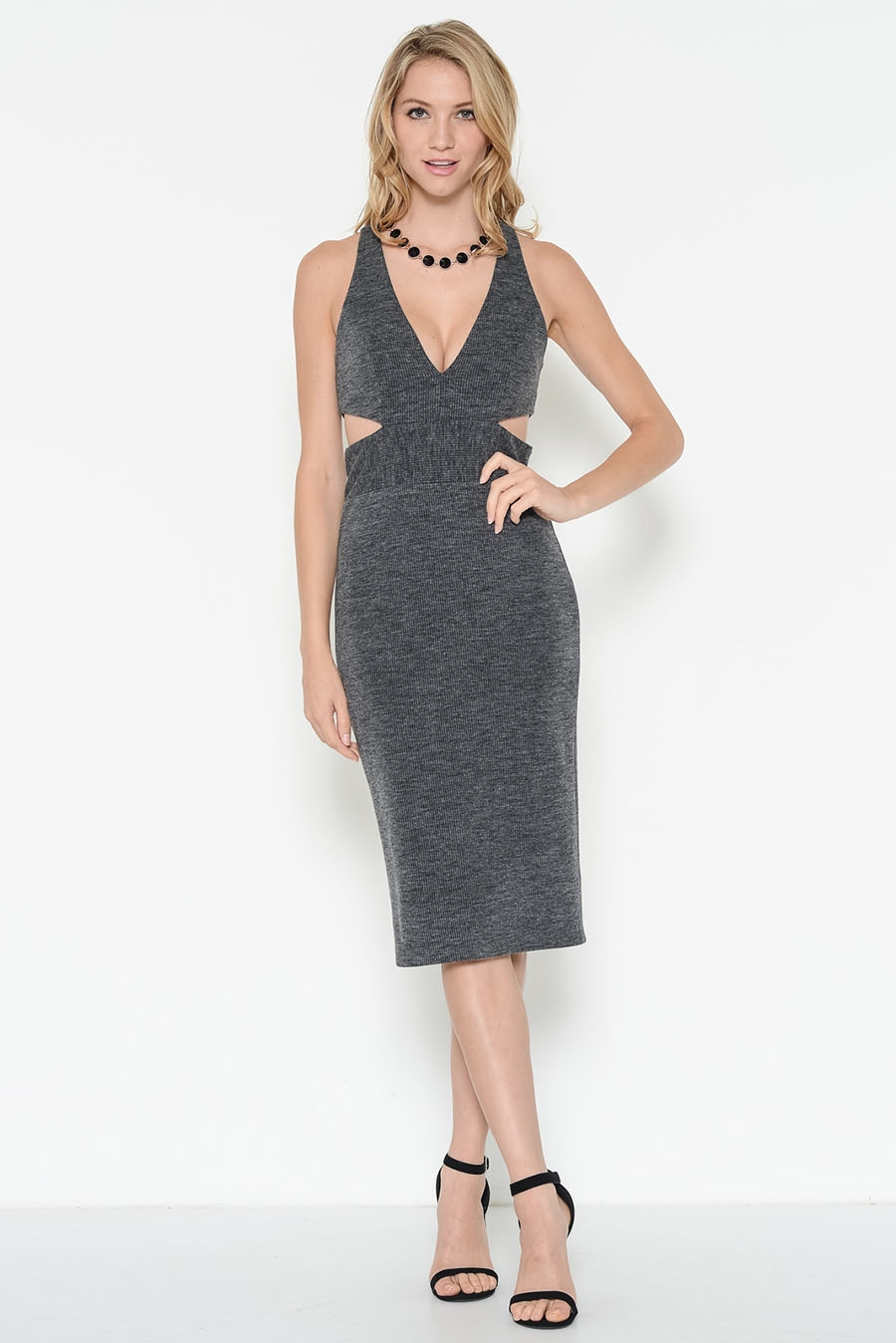 RIB DEEP NECK MIDI DRESS - orangeshine.com
