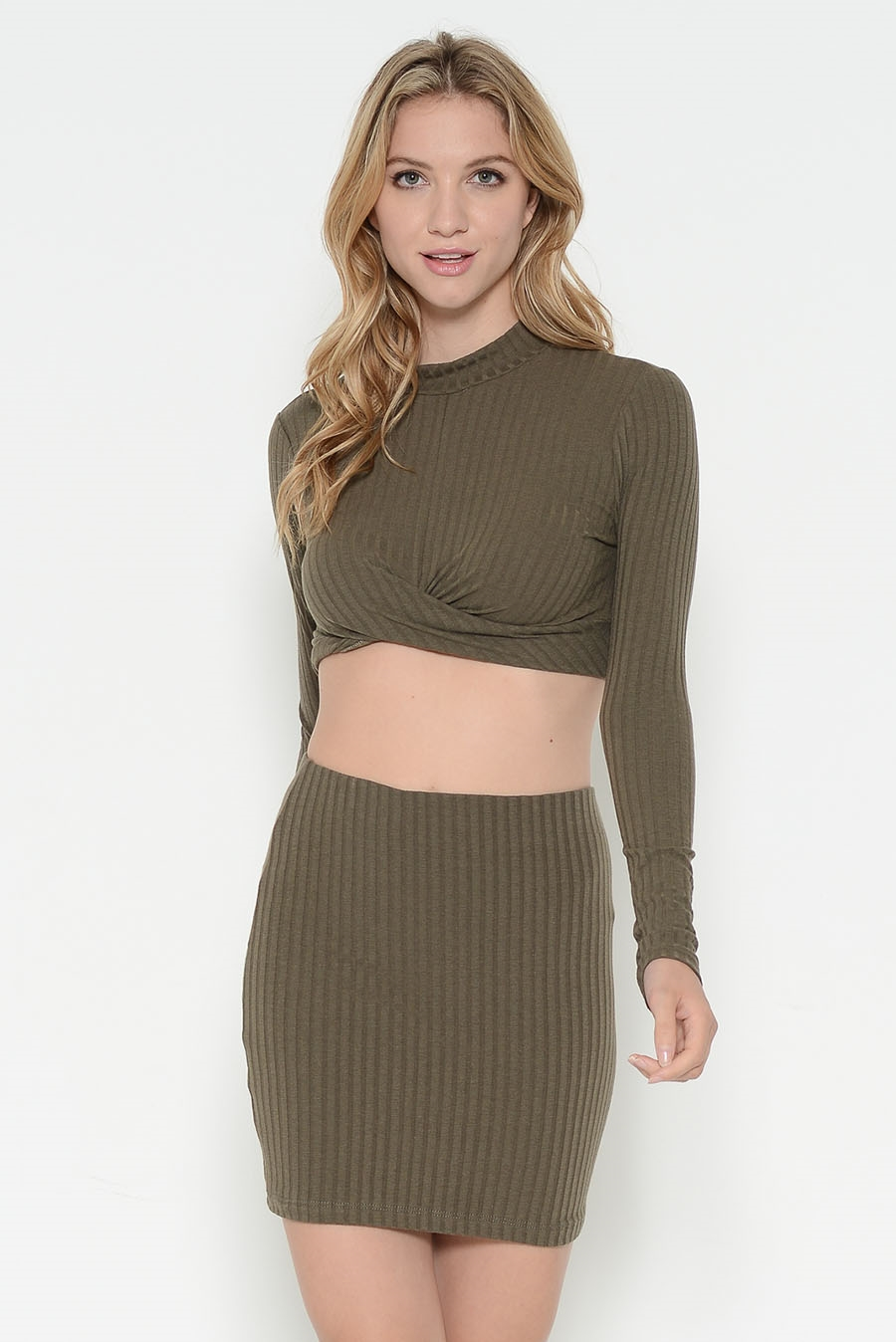 LONG SLV RIB MOCKNECK CROP TOP - orangeshine.com