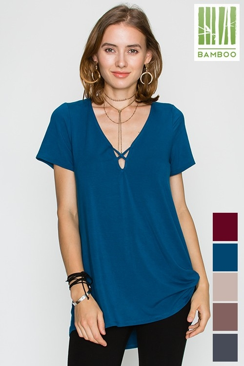 Bamboo Solid Short Sleeve Top - orangeshine.com