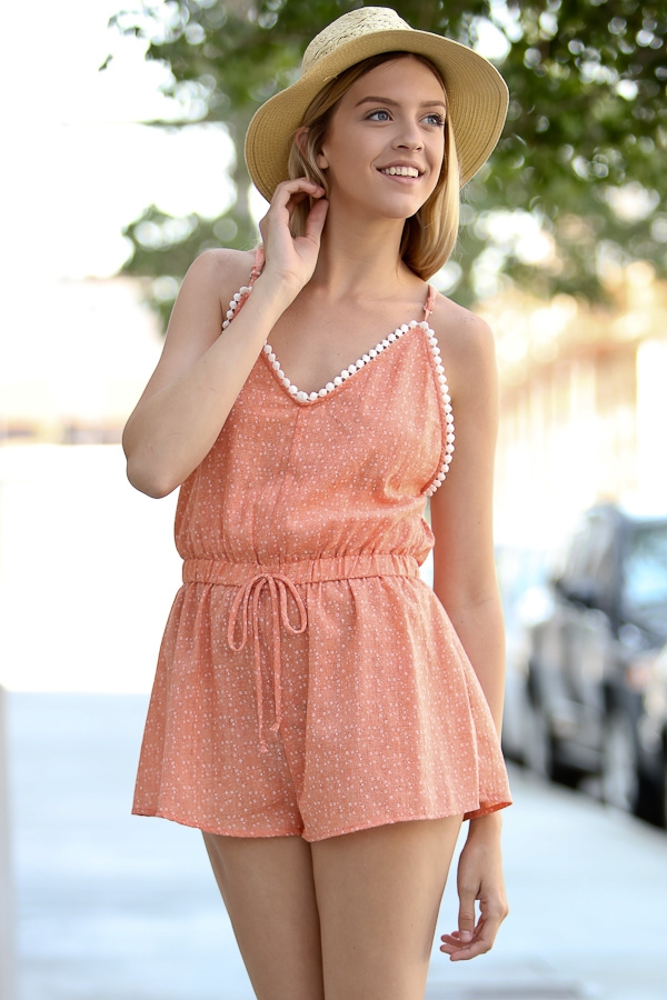 Lace detail orange romper - orangeshine.com