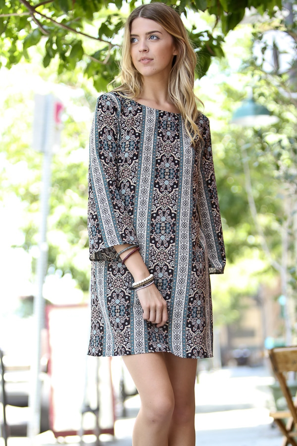 3/4 sleeve multi color dress - orangeshine.com