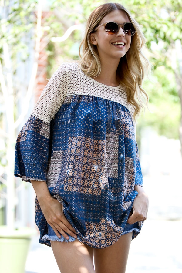 3/4 sleeve lace detail top - orangeshine.com