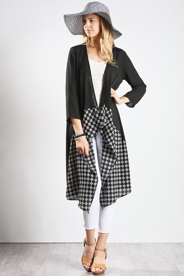 3/4 sleeve plaid dress - orangeshine.com