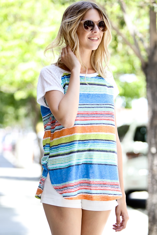 Short sleeve multi stripe top - orangeshine.com