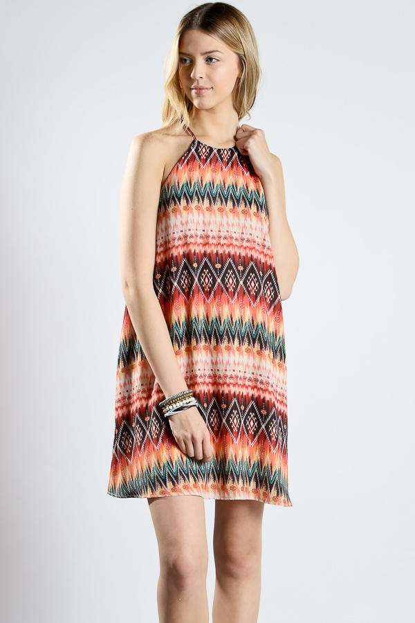 Off shoulder halter neck dress - orangeshine.com
