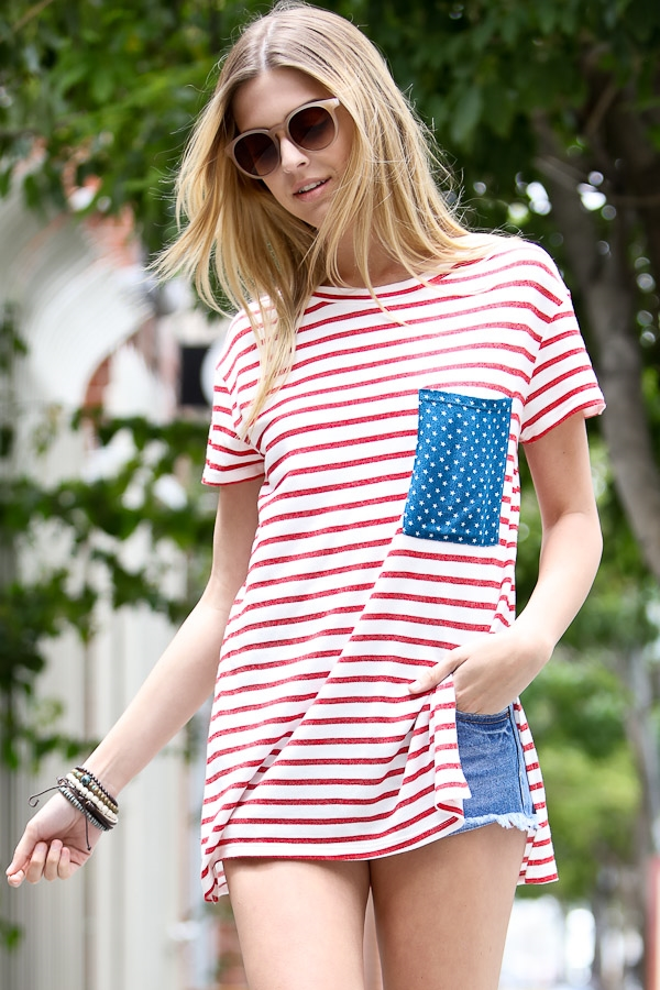Flag pattern pocket top - orangeshine.com