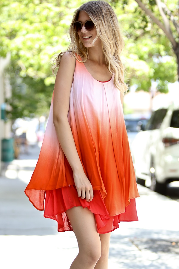 Sleeveless tie dye dress - orangeshine.com