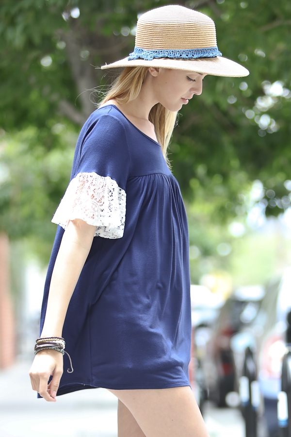 Short sleeve top with lace sle - orangeshine.com