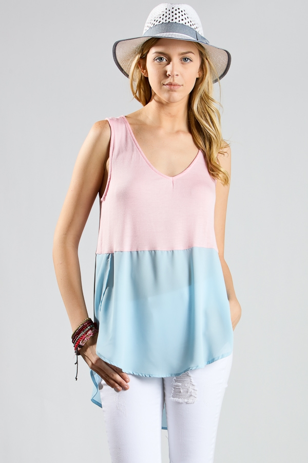 V-neck color block top - orangeshine.com