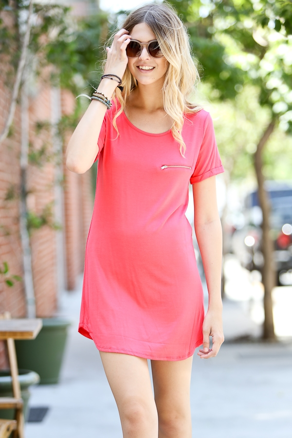 Short sleeve dress with zipper - orangeshine.com