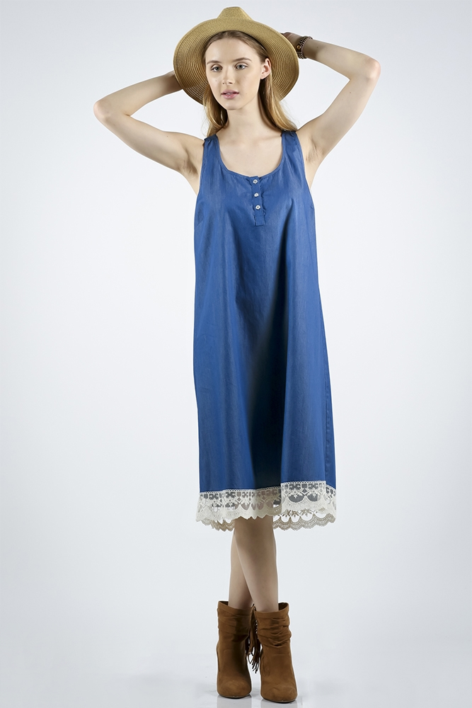 DENIM SLEEVELESS DRESS W/ LACE - orangeshine.com