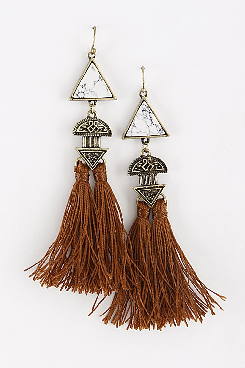 Hook Earrings with Triangles - orangeshine.com