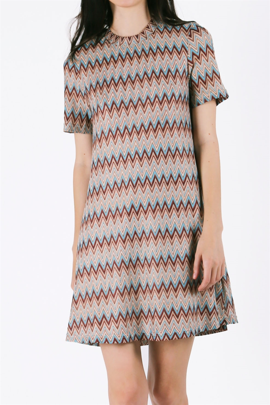 CHEVRON SHOR SLEEVE DRESS - orangeshine.com