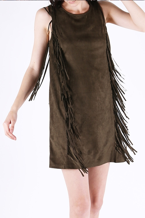 FRINGE DETAILED MINI DRESS - orangeshine.com