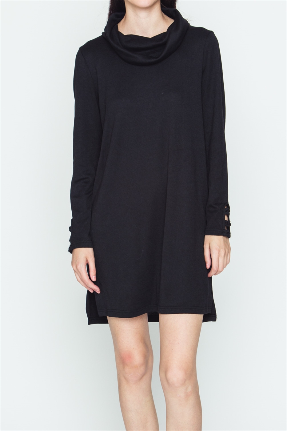 TURTLE NECK LONG SLEEVE DRESS - orangeshine.com