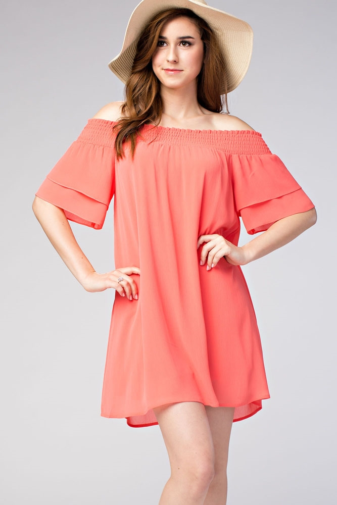 Smocked Off-The-Shoulder Dress - orangeshine.com