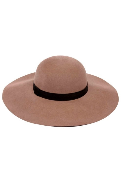 WOOL FELT FLOPPY HAT W/RIBBON - orangeshine.com