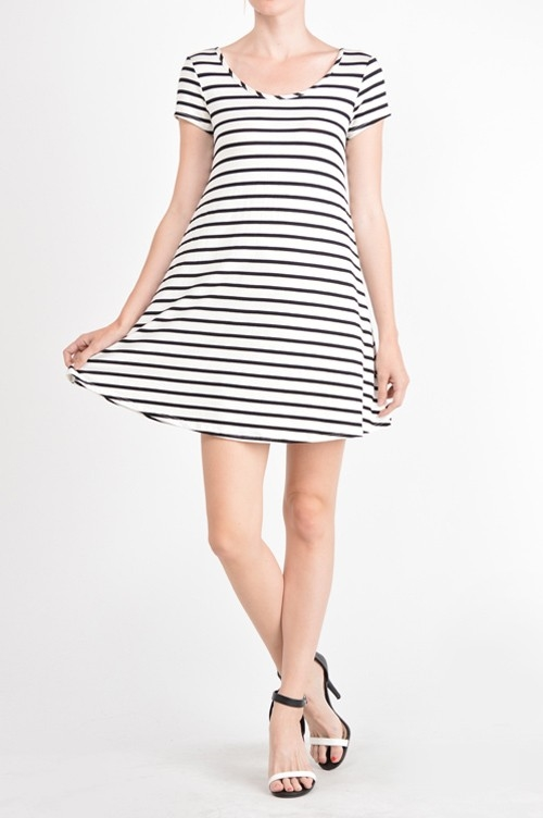 Striped Lace Up Swing Dress - orangeshine.com