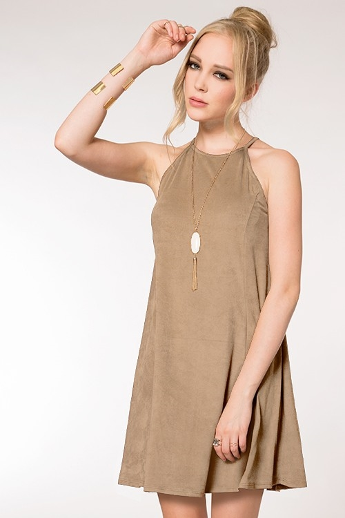 FAUX SUEDE TANK DRESS - orangeshine.com