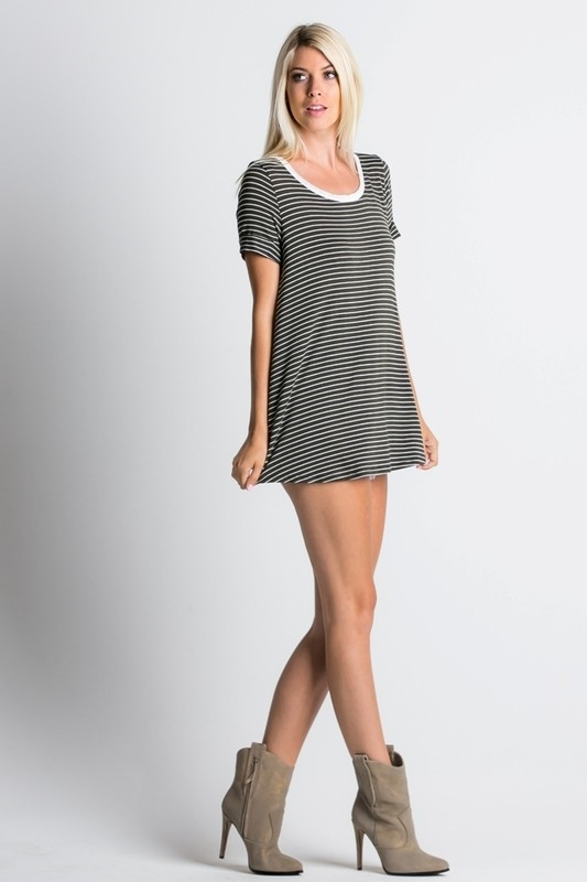 Striped scoop neck t-shirt  - orangeshine.com