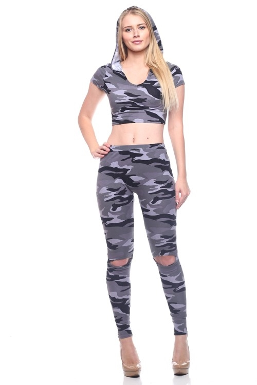 Camo Set Crop and Pants - orangeshine.com