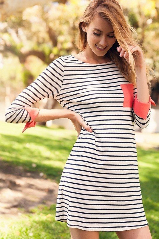 STRIPE  MINI DRESS WITH POCKET - orangeshine.com