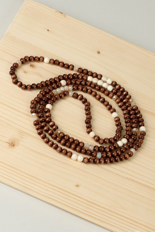 GLASS MIX W/WOOD  NECKLACE - orangeshine.com