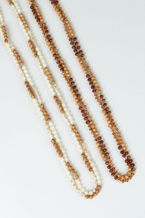 WOOD AND CRYSTAL NECKLACE - orangeshine.com
