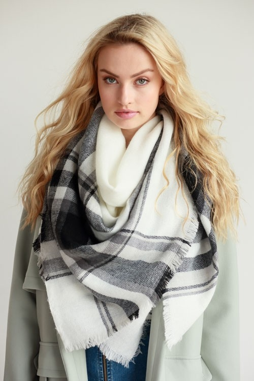 OVERSIZED FRAYED SQUARE SCARF - orangeshine.com