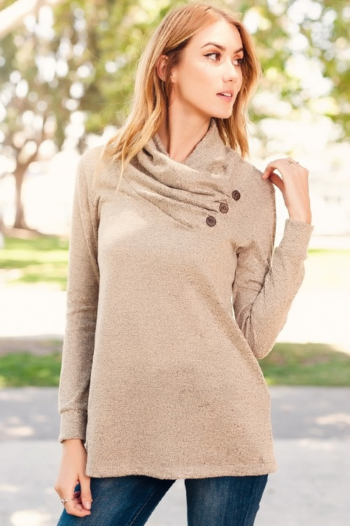 COWL NECK TOP WITH BUTTONS - orangeshine.com