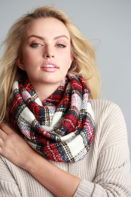PLAID P FRAYED INFINITY SCARF - orangeshine.com