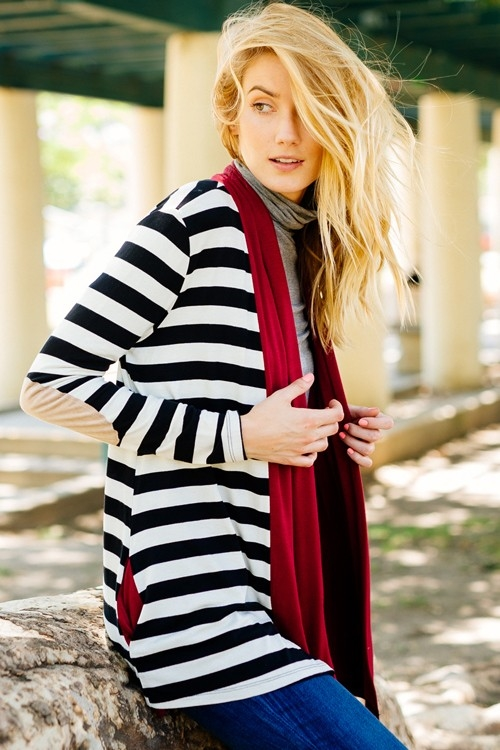 OPEN STRIPE CARDIGAN - orangeshine.com