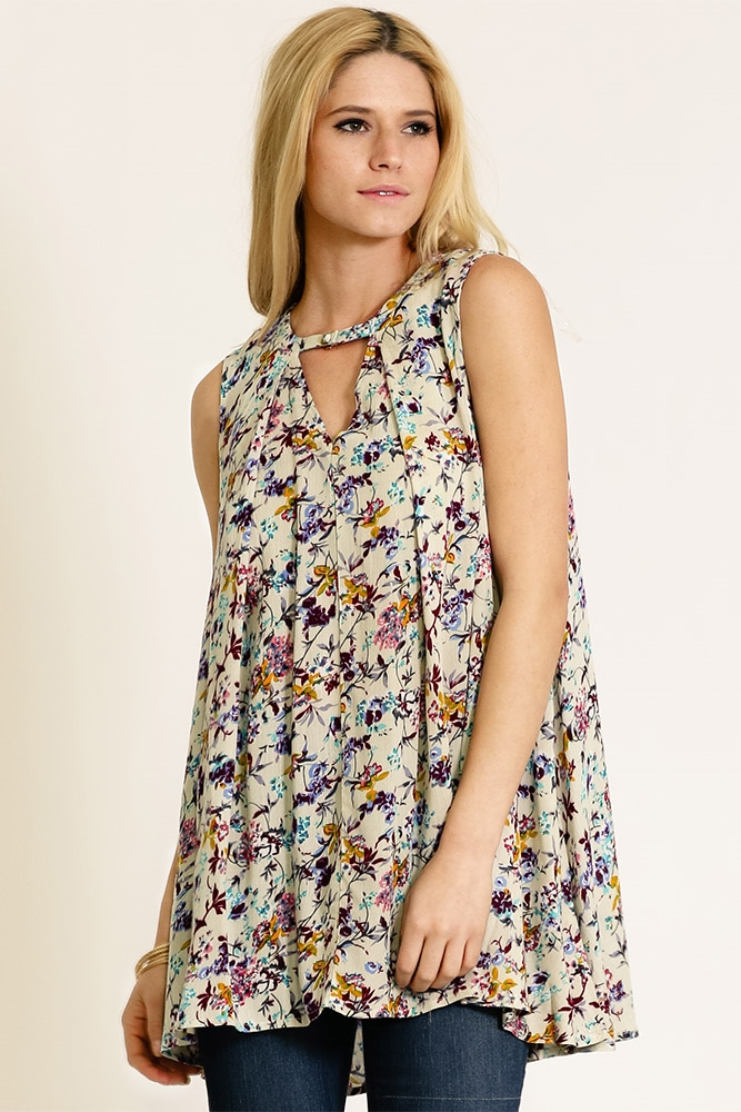 PRINTED DRAPE NECK TUNIC - orangeshine.com