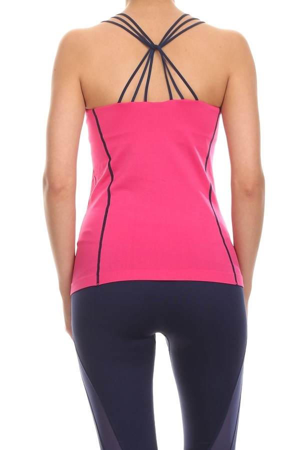 Multi Straps Active Tops Pink - orangeshine.com