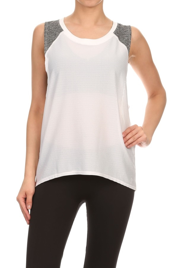Boyfriend mesh tank top white - orangeshine.com