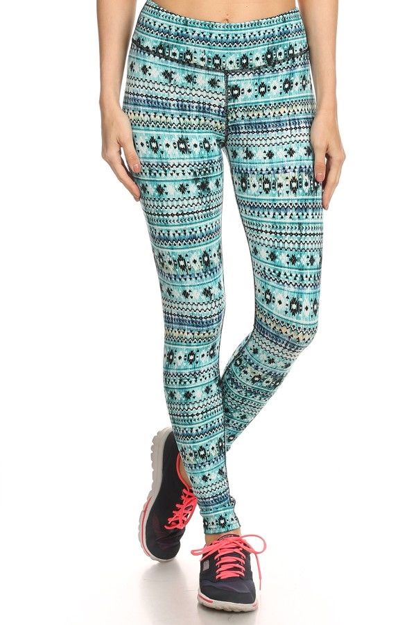 Sport Leggings Gym Aztec Mint - orangeshine.com