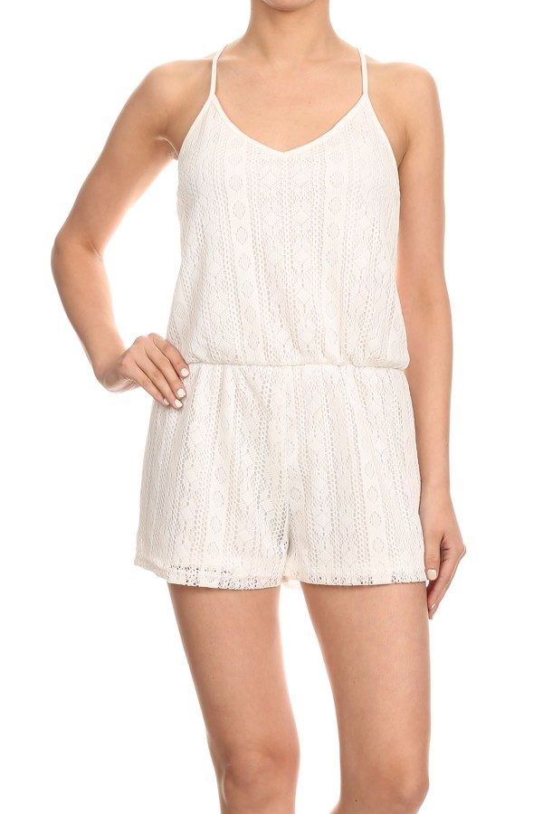 white lace rompers jumpsuits - orangeshine.com