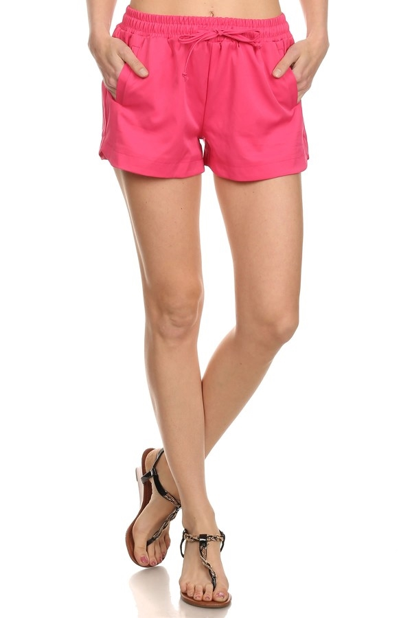 Solid Color Shorts Pink - orangeshine.com
