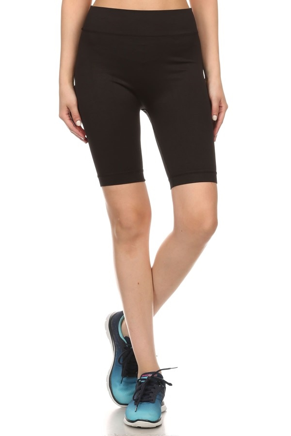 Black Biker Shorts Ponte Knit - orangeshine.com
