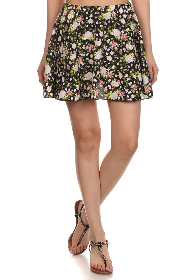 floral mini skirts black green - orangeshine.com