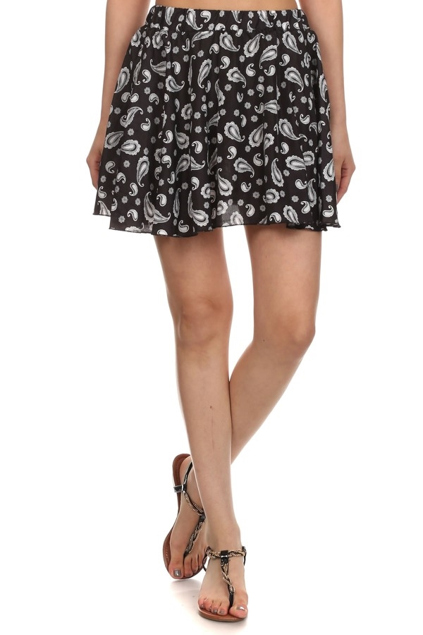 Black paisley Mini Skirt Short - orangeshine.com